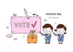 选举现场的卡通人物图案图片