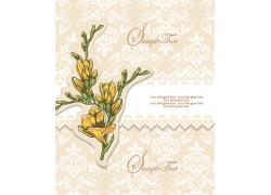 黄色花方背景下的手绘花朵
