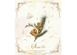 怀旧背景下的手绘花朵