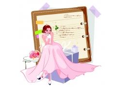 笔记本坐在礼物上的新娘