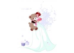 抱着小熊的新娘