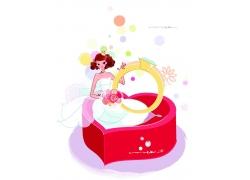坐在心形盒里的新娘