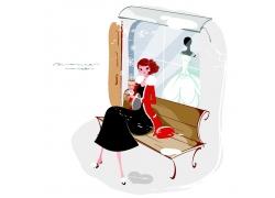 坐在婚纱店门口的新娘
