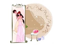展板里的新郎新娘