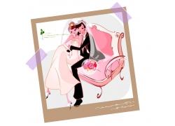 坐在沙发上的新郎新娘