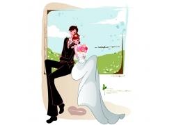 拍婚纱照的新郎新娘