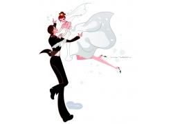举起新娘的新郎