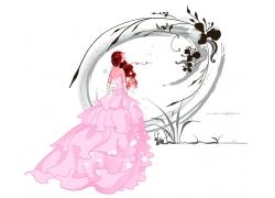 拿玫瑰花的新娘背影