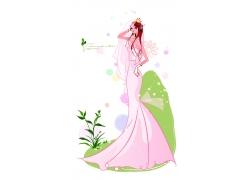 叉腰的婚纱新娘