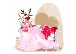 坐在沙发上的婚纱新娘