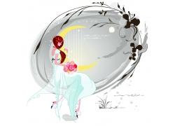 拿花抱着月亮的新娘