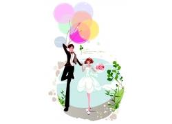 拿汽球和玫瑰花的新郎新娘