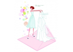 展示婚纱的新娘