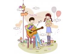 弹吉他唱情歌的情侣图片