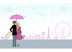 打雨伞的卡通恋人