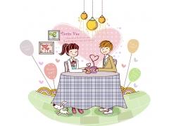 桌子旁边的卡通情侣