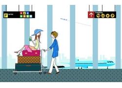 机场推着女孩与行里箱的男人