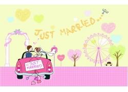 婚车上的情侣