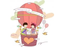 坐在热气球里的卡通情侣
