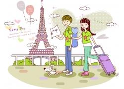 托行李箱旅游的情侣图片