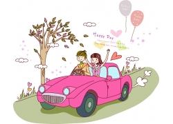 开汽车兜风的情侣图片