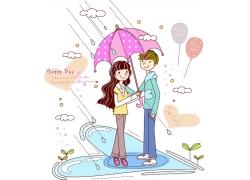 下雨打伞的情侣