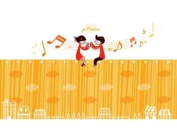 拍手唱歌的情侣图片