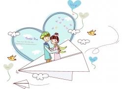 站在纸飞机上的情侣图片