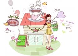 咖啡与卡通女孩