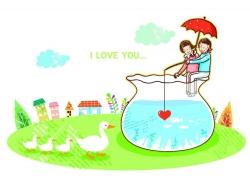 坐在鱼缸钓红心的情侣