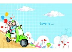 骑摩托车的情侣
