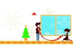 过圣诞节的卡通情侣