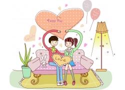 沙发摆爱心的情侣图片
