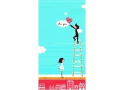 楼梯摘云朵的情侣图片