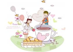咖啡三明治与卡通情侣