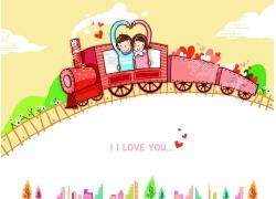 坐火车的卡通情侣