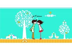 树下接吻的卡通情侣