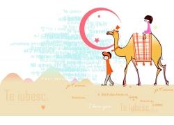 坐在骆驼的情侣图片