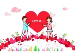 爱心与卡通情侣