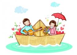 坐在纸船里的卡通人物