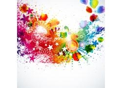 色彩斑斓蝴蝶叶子心形背景