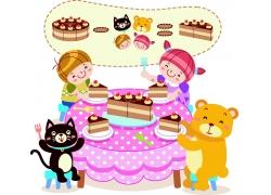 在吃生日蛋糕的卡通孩子和动物图片