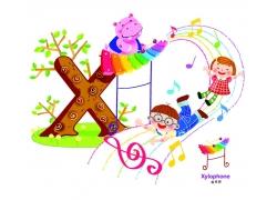 敲木琴的河马和玩耍的儿童卡通图案图片