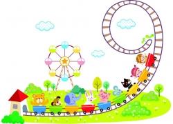 玩过山车的孩子和动物卡通图案图片
