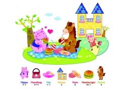 野餐的卡通动物图片