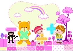 拿着数学符号的孩子和动物卡通图案图片