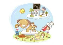 卡通兽医插画图片