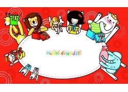 可爱卡通女孩与动物漫画图片