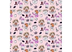 粉色背景牛奶小女孩图案