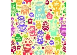 小猴小熊卡通动物背景